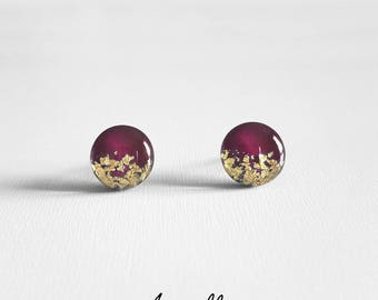 Moon Berry Stud Earrings Gold or Silver Leaf - Winter 2017 Limited Edition Collection