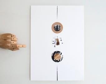 Circles art, original abstract collage art, mixed media art, collage art, collage abstract, circles art, mixed media collage, minimal art