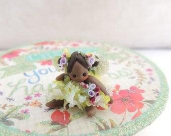 African American Petal Fairy Wee Ones Miniature Doll Figurine