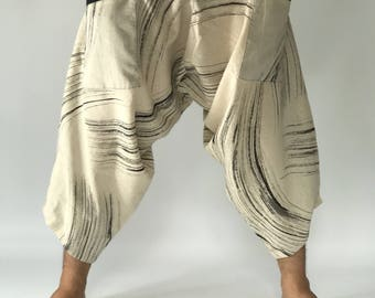 HC0262 men pants Handmade pants, Thick Smock Waist Low Crotch, unisex Yoga Harem Pants  - elastic waistband  - Fits all !