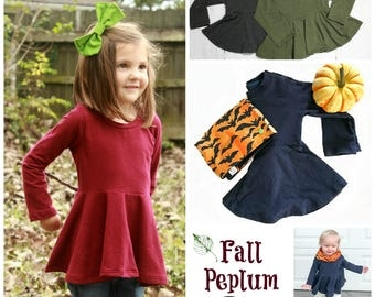 Long Sleeve Solid Peplum Top, NEW Fall colors, Girls Fall Tunic, Peplum, Baby Top, Toddler Shirt, Custom Top