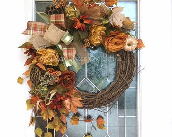 Fall Wreath - Thanksgiving Wreath - Fall Decor - Autumn Wreath - Autumn Decor - Fall Door Hanger - Fall Decoration - Holiday Decor
