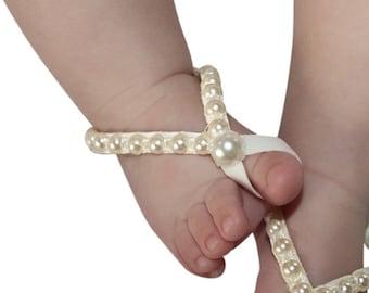 Newborn Baby Sandals, Barefoot Sandals, Baby Barefoot, Baby Sandals, Baby Crib Shoes, Wedding Sandals, Pearls Sandals, Toddler Sandals