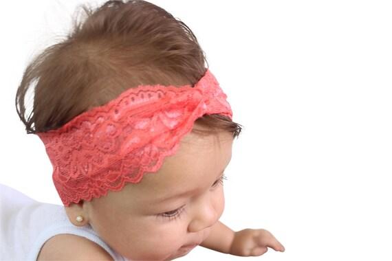 Lace Coral Turban, Baby First Headband, Baby Turban, Newborn Turban, Twisted Headband , Newborn Gift, Turban Headband, Lace Turban