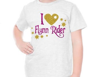 I LOVE Flynn Rider Rapunzel Sparkly Glitter Tangled tee tank top shirt top baby kids girls ladies adult women outfit