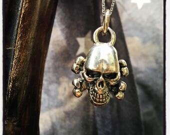 Sterling Silver Skull Pendant Skull Pendant Skull Necklace Silver Skull Pendant Silver Skull Crossbones Pendant Badass Biker Outlaw Pendant