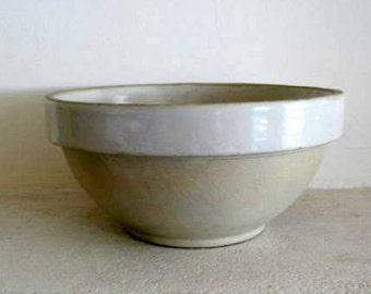 Perfect, antique French rustic Digoin Crespots stoneware bowl, ivory and cream - 65 euro