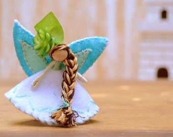 Waldorf Fairy Doll - waldorf fairies, miniature fairy doll, miniature fairies, felt fairy doll, felt fairies, flower fairy doll, pixie
