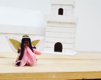 Flower Fairy Doll - flower fairies, waldorf fairy doll, waldorf fairies, black fairy doll, black fairies, miniature fairy doll, pixie doll