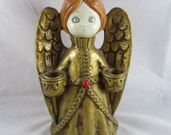 "Paper Mache Angel Candle Holder 9.5"" Holiday Christmas Vintage Japan"