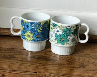 Vintage Coffee Cups, Mismatched Set of Two, Flowers, Green and Blue Daisies, Ceramic Mugs, Coffee Mugs, Tea Cups, Unique Gift!