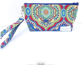 Zippered Wristlet Clutch, Makeup Bag,  Detachable Key fob Strap, Made to Order
