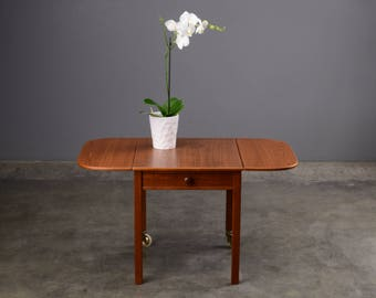 Danish Modern Drop Leaf End Table Serving Cart Coffee Table Mid Century
