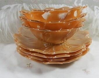 Vintage circa 1950s - 1960s Peach Lustre Laurel by Anchor Hocking Dessert Set-Bowl with Underplate