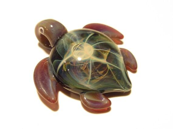 Miniature Turtle - Green Sea Turtle - Heady Glass - Handmade - Turtle Jewelry - Turtle Jewelry Gift - Nature Lover Gift - Borosilicate - Art