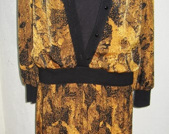 Lilli Ann for Adolph Schuman 8 Gold and Black pleated skirt & top set New with Tag ILGWU
