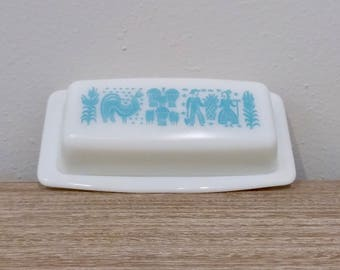 Perfect Pyrex butterprint butter dish, white and turquoise pyrex, butterprint pyrex, butter tray, butter dish, Pyrex Amish #22