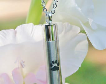 Mens Pet Cremation Jewelry LARGE VIAL for Ashes Urn Necklace Ash Pendant Dog Cat Paw Print Memorial Gift Stainless Steel Chain Loss Loved