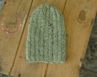 Reversible Knit Newborn Slouch Hat - Newborn Pastel Green Knit Slouch Hat - Pastel Green Knit Newborn Photo Prop - Ready to Ship Newborn Hat