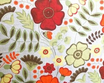 60s scandinavian vintage curtain drapery. Yellow Mod floral print. Swedish design. Mid century modern. Retro curtain orange red