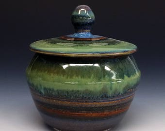 Porcelain Lidded Jar- Green & Blue