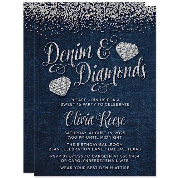 Sweet 16 Invitations Denim Diamonds Gems Sweet Sixteen