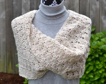 Twisted Cream Sparkles Crochet Cowl Ready to Ship