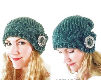PATTERN: Bohemian Winter Slouchy Hat Knitting Pattern, Chunky Knit Pattern, Cable Knit Hat Pattern, Button Hat Pattern, Slouchy Beanie