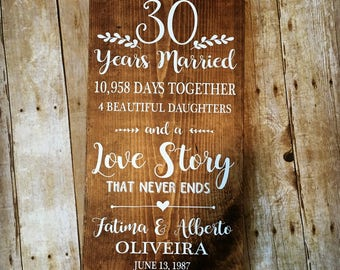 30 Years Married, 30th Anniversary, Gifts for Parents, Milestone Anniversary, Custom Anniversary Gift, Love Story that Never Ends