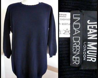 Jean Muir Sweater / Jean Muir Cashmere Sweater / 80s Jean Muir Cashmere / Linda Dresner / fits M-L /  Heavy Cashmere made in Scotland