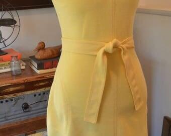 Vintage 1960s 1970s Melissa Lane secretary yellow shift dress belt S / M small medium
