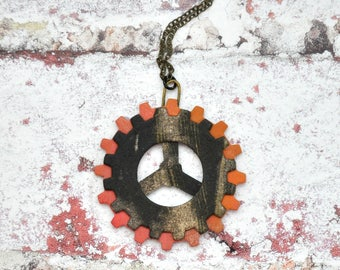 Abstract Paint Layered Gears Pendant Necklace, OOAK Unique Handmade Steampunk Jewelry Unisex Jewelry Gift for her Gift for him