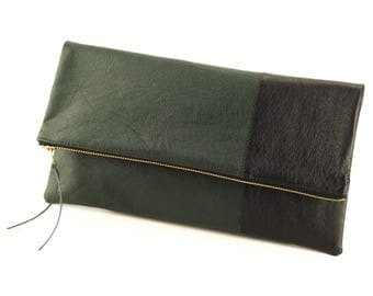 Fold Over Leather Zipper Clutch, Handmade Leather Clutch, Upcycled Leather Clutch, Casual Clutch, Leather Foldover Purse, Green and Black
