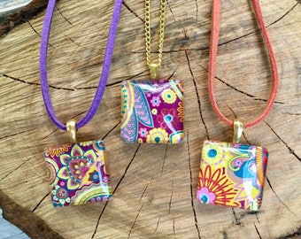 Colourful Necklace, Statement Necklace, Muticolour Pendant, Floral Pendant, Paisley Necklace, Paisley Pendant, Purple and Yellow Pendant