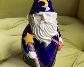 Vintage Gandalf Merlin Wizard Bank Figurine Moon & Stars Hat Ceramic Money Holder Staff Witch Warlock Magic Magical White Beard Blue Fantasy