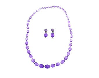 Long Purple Bead Necklace and Earring Set, Long Purple Necklace and Earrings, Chunky Purple Necklace and Earrings