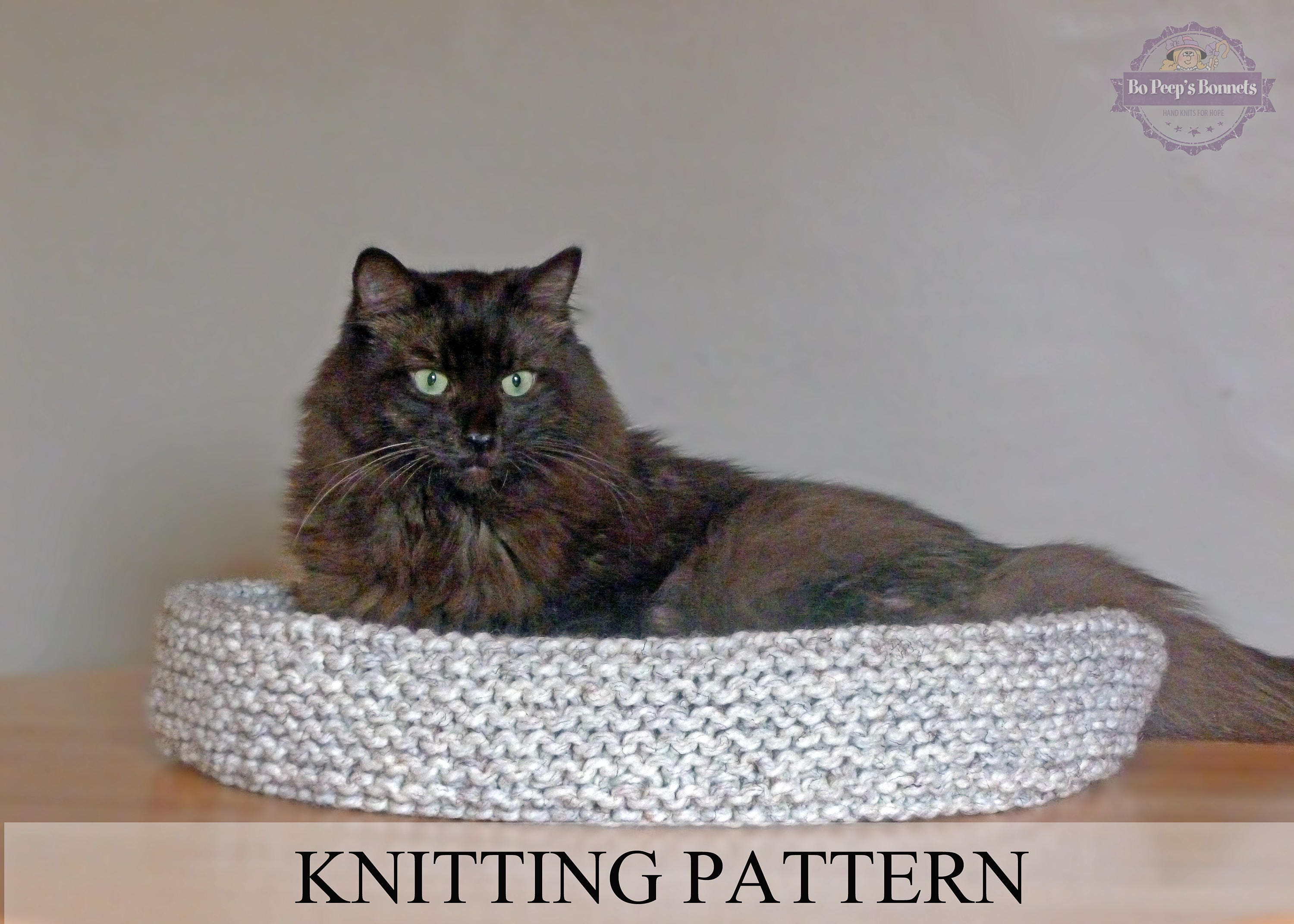Cat Bed KNITTING PATTERN Knitted Cat Bed Tutorial DIY Cat