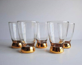 25% OFF SALE - Mid Century Gold Base Glasses, S/5