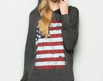 American Flag Hoodie,Gray Hoodie,Flag Hoodie,Charcoal Hoodie,Women Flag Hoodie,Gray Pullover,Long Sleeve Hoodie,Soft Gray Hoodie,Lounge Wear