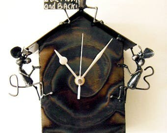 """Love Clock with mice blowing kisses saying """"I Love You To The Moon And Back!"""" , with pendulum and  crescent moon."""