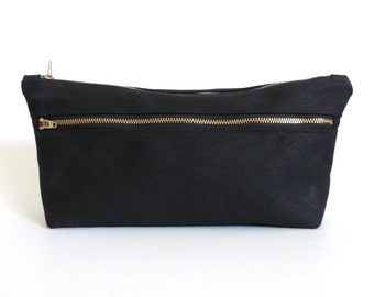 Waxed Canvas Toiletry Bag Double Zipper Dopp Kit Black