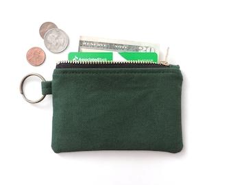 Canvas Keychain Coin Purse Slim Wallet Zipper Pouch Green