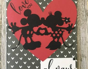 Mickey Mouse & Minnie Mouse love you always and forever card-Mickey and Minnie anniversary card-Disney anniversary card