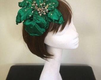 SALE Green Flower Comb, Flower Fascinator, Green fascinator ,Green hat, same day dispatch