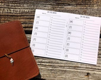 Traveler's Notebook A6 Size Meal Planning Inserts