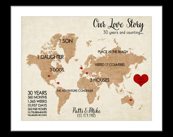 1 20th Anniversary gift for him or her husband wife, wedding gift, personalized anniversary map print ready to hang, unique travel map, year