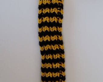 """ON SALE Golden Yellow Fur Top Hand Knit Golf Club Head Cover for Small Woods and Hybrids 15"""" Long Neck for Shaft Protection"""