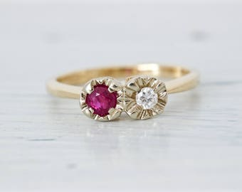 Diamond and Ruby Engagement Ring | Gemstone Wedding Ring | Dual Stone Jewelry | July April Birthstone Jewelry | 14k Yellow Gold Ring |Size 6
