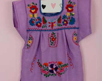 6-12 Months-Colorful Baby Handmade Mexican Dress-Purple-Hand Embroidered-Cake Smash-Photoshoot Outfit-Wedding-Sister-Festival-Birthday Gift