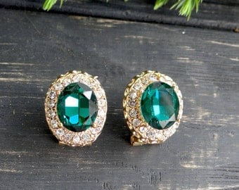Green wedding earrings VINTAGE jewelry gold tone earring for women gift bridal earrings crystal earrings gold stud mother gift from daughter
